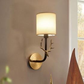 プルスイッチ13  39センチメートルで壁リビング全体の銅シカアントラーズ背景コンチネンタルベッドサイドランプベッドルームランプ 美しい装飾 (色 : Black, Size : S)