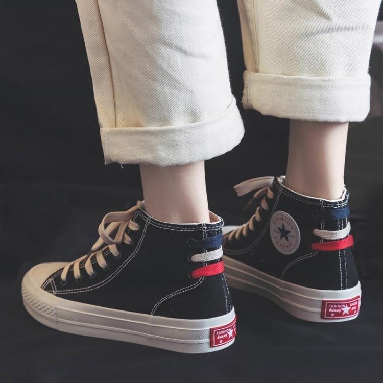 春季新款高筒帆布鞋女韓版百搭港味復古學生布鞋原宿ulzzang