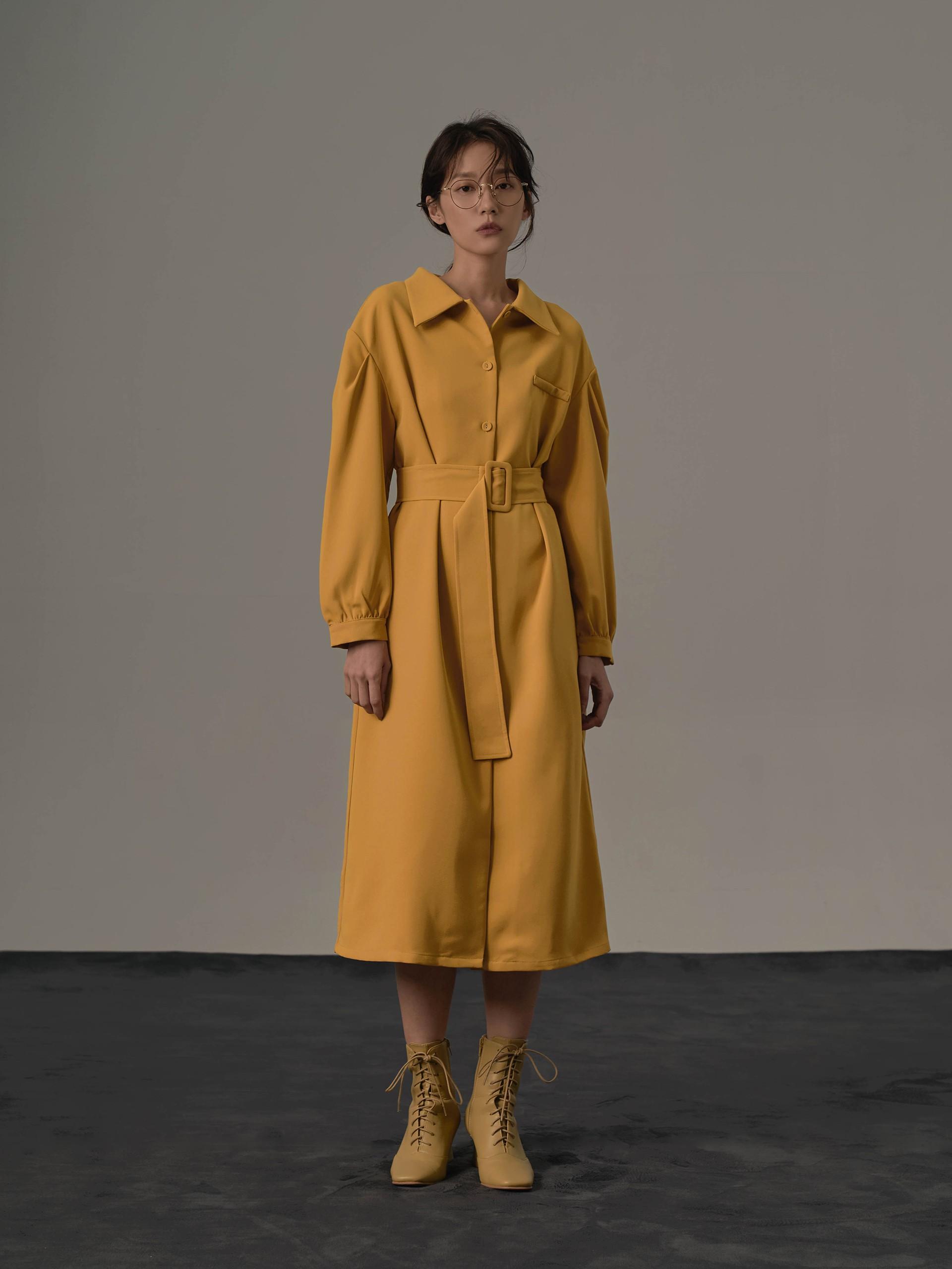 mouggan+復古感澎袖長洋裝