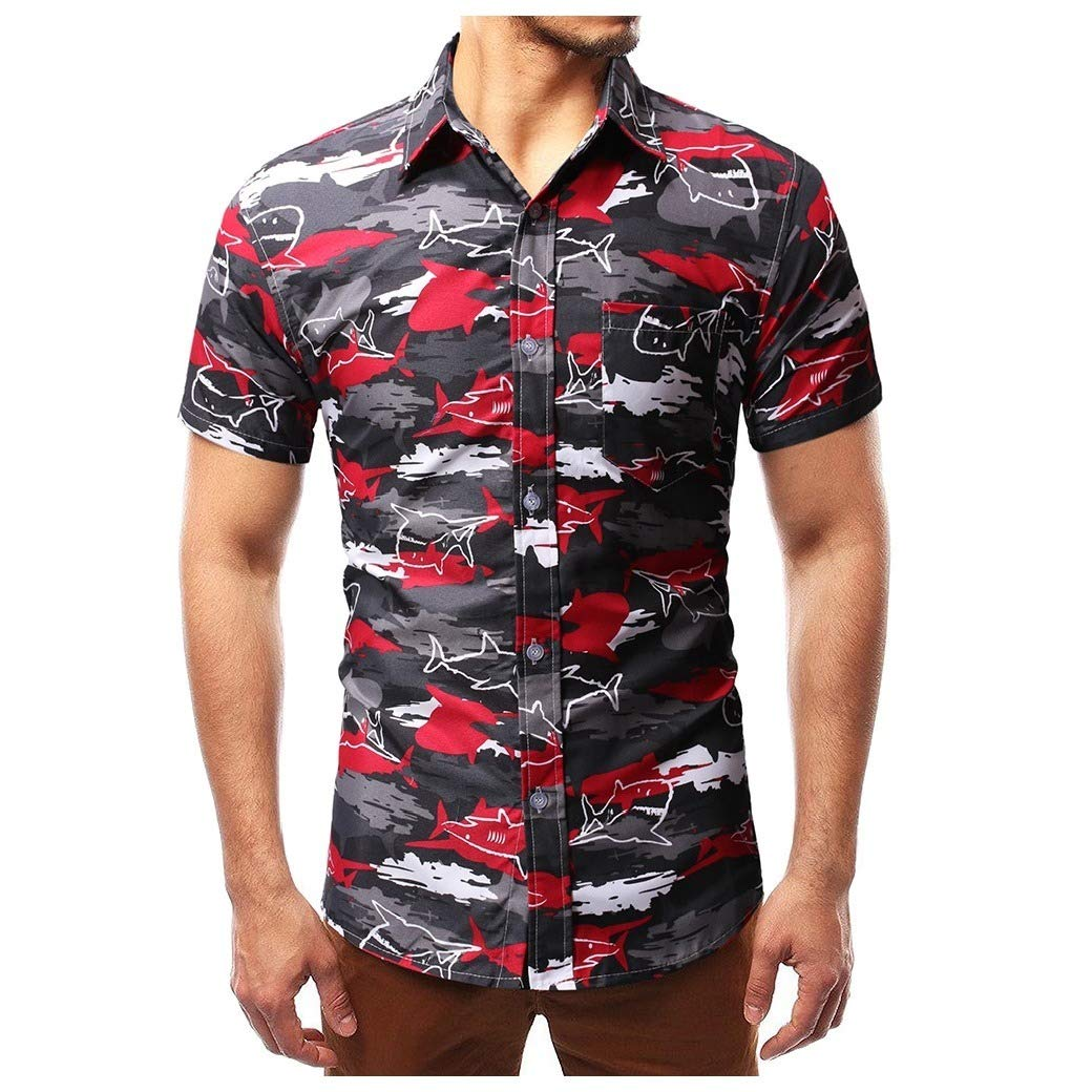 YUNY Mens Casual Button Turn-Down Collar Long Sleeve Pocket T-Shirts Shirts White L