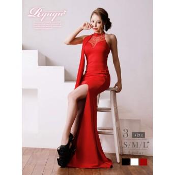 (リューユ)Ryuyu キャバ ドレス キャバドレス キャバクラ ロングドレス パーティードレス Ryuyu タイト ロング キャバドレス ワンカラー 505703 L(140) レッド(180)