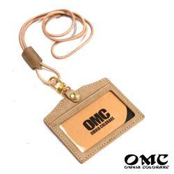 【OMC】歐洲植鞣牛皮橫式識別證套悠遊卡套-卡其