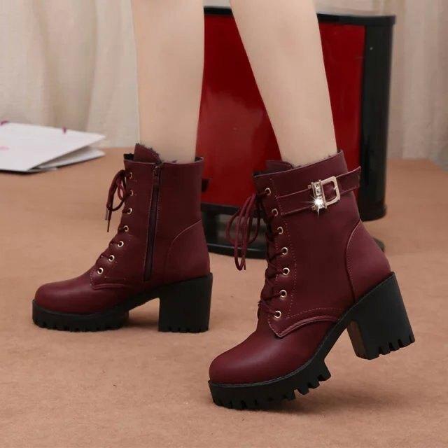 秋冬款高跟粗跟防水臺系帶歐美女鞋短靴保暖馬丁靴系帶女靴子