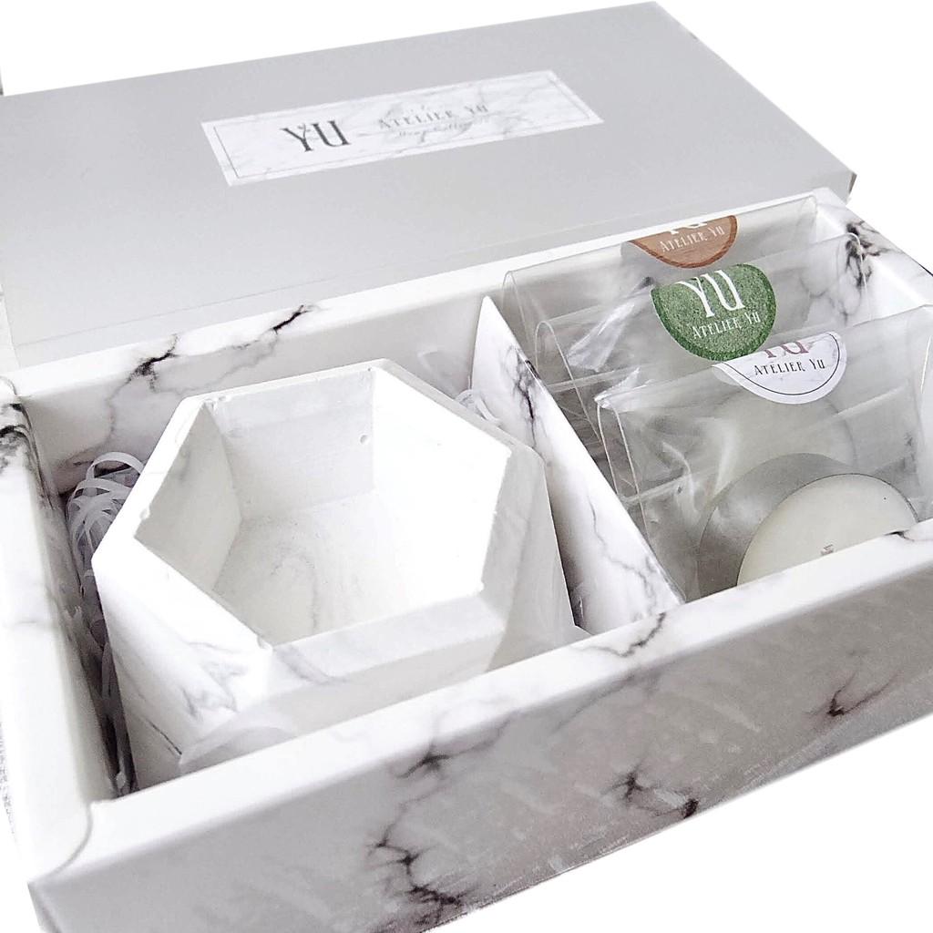 Atelier YU 手工精緻大理石紋香磚擴香石 六角型蠟燭台 含茶蠟 禮盒 茶蠟專用
