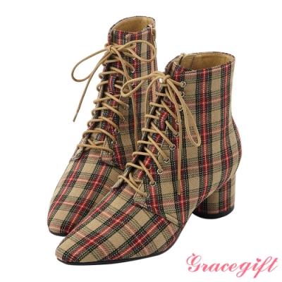Grace gift  X Rui 聯名綁帶尖頭中跟短靴