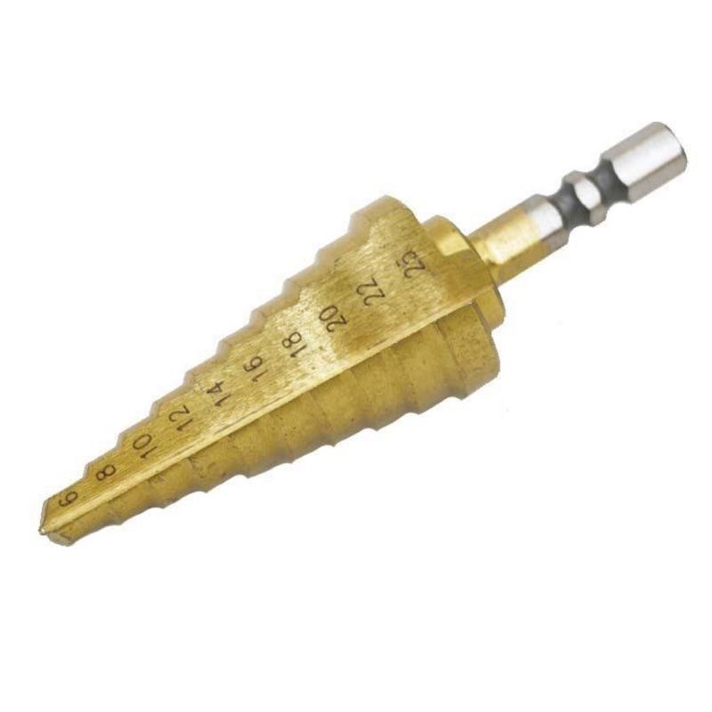 專業階梯鑽高速鋼(6~25mm) HSS 材質 六角頭鍍鈦階梯鑽頭 鑽尾梯型圓穴鑽