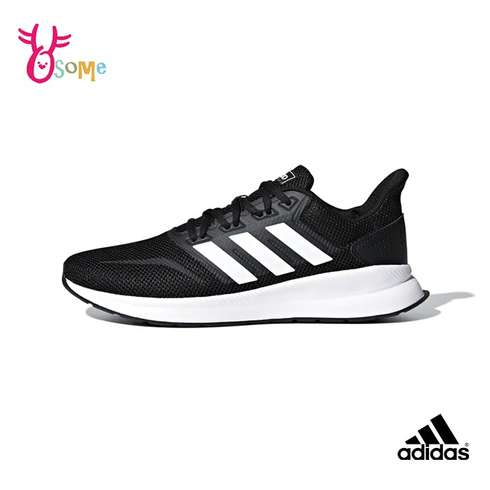 adidas運動鞋 男鞋 RUNFALCON 透氣慢跑鞋 耐磨 運動鞋 跑步鞋 R9381黑白 OSOME奧森鞋業