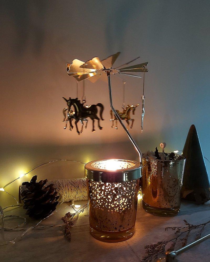 情人節禮物首選 旋轉燭台 獨角獸 金粉雪花杯 85g 大豆蠟香氛蠟燭
