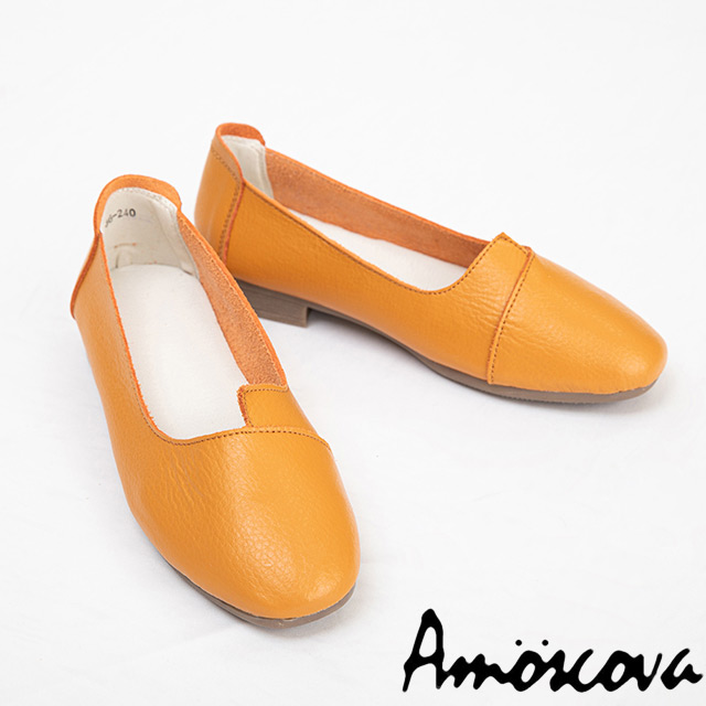 【Amoscova】手工真皮簡約不對稱設計顯瘦腳板休閒包鞋S036-棕