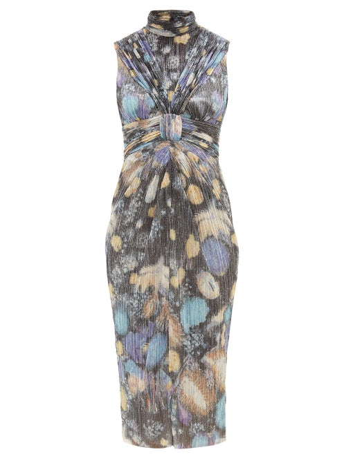 Peter Pilotto - Fireworks-print Plissé Lamé Dress - Womens - Black Multi