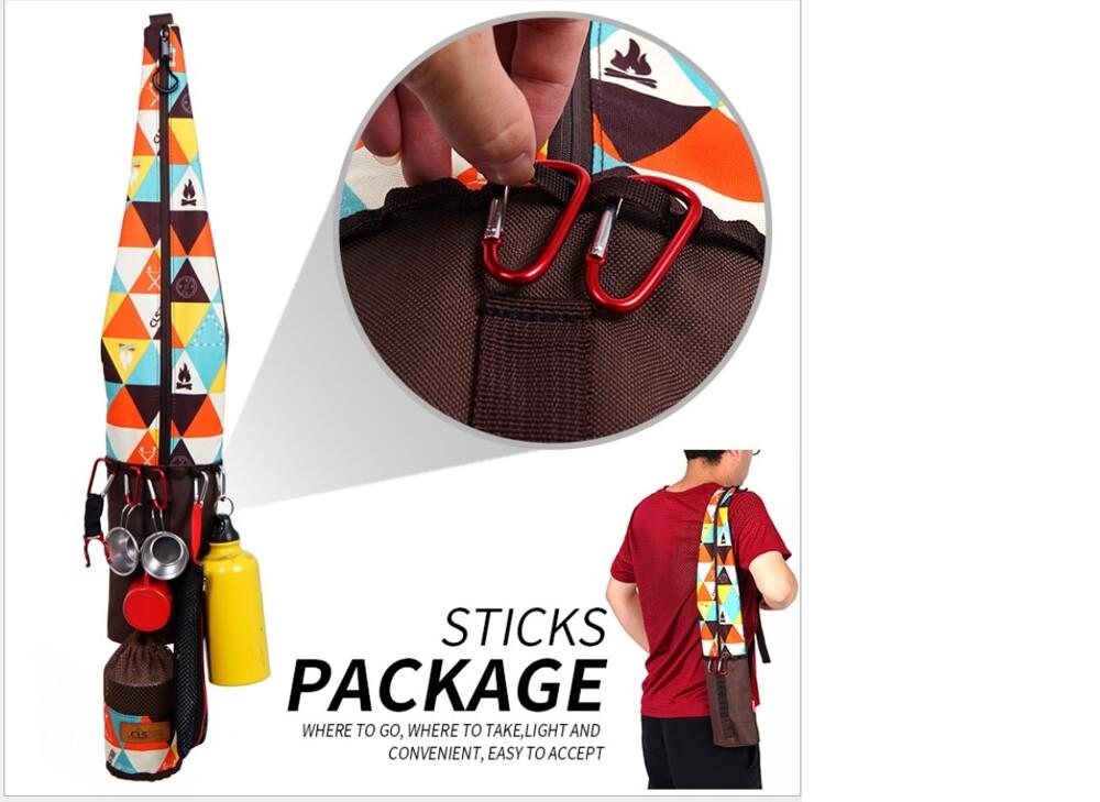 戶外防水登山杖背包 折疊便攜拐杖收納袋 登山杖包 多功能垂釣魚竿收納包