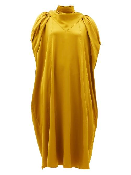 Ssone - Apex Bow-back Charmeuse Midi Dress - Womens - Gold