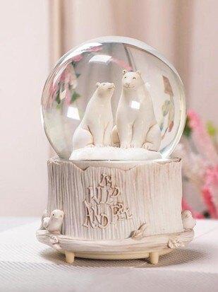 音樂盒 歐式熊鹿水晶球擺件創意音樂盒帶雪花可愛八音盒女生生日兒童禮物 萬事屋  聖誕節禮物