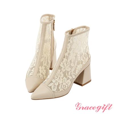 Grace gift X Rui  聯名雕花蕾絲粗跟短靴