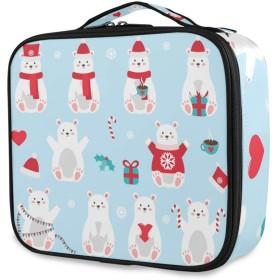Akiraki 化粧ポーチ メイクボックス 大容量 機能的 おしゃれ かわいい クリスマス 白熊 ブルー かわいい 動物柄 ポーチ 小物入れ メイクポーチ 仕切り 仕分け 収納バッグ 収納ケース 化粧バッグ 旅行 出張 コンパクト 軽量 ファスナー 持ち運び便利