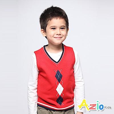 Azio Kids 男童 背心 雙色菱格針織背心 (紅)
