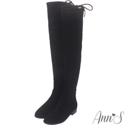 Ann'S 貼腿版 獨創防滑膠條超窄版過膝靴  細絨黑