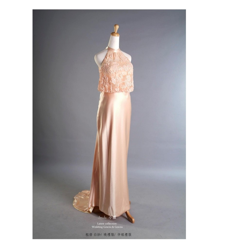 ♥ 削肩A-Line拖尾禮服 ♥ 禮服與攝影棚 ♥二手 婚紗 禮服 出清