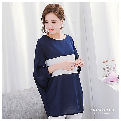 Catworld 附項鍊配色色塊連袖雪紡上衣【11405837】‧F