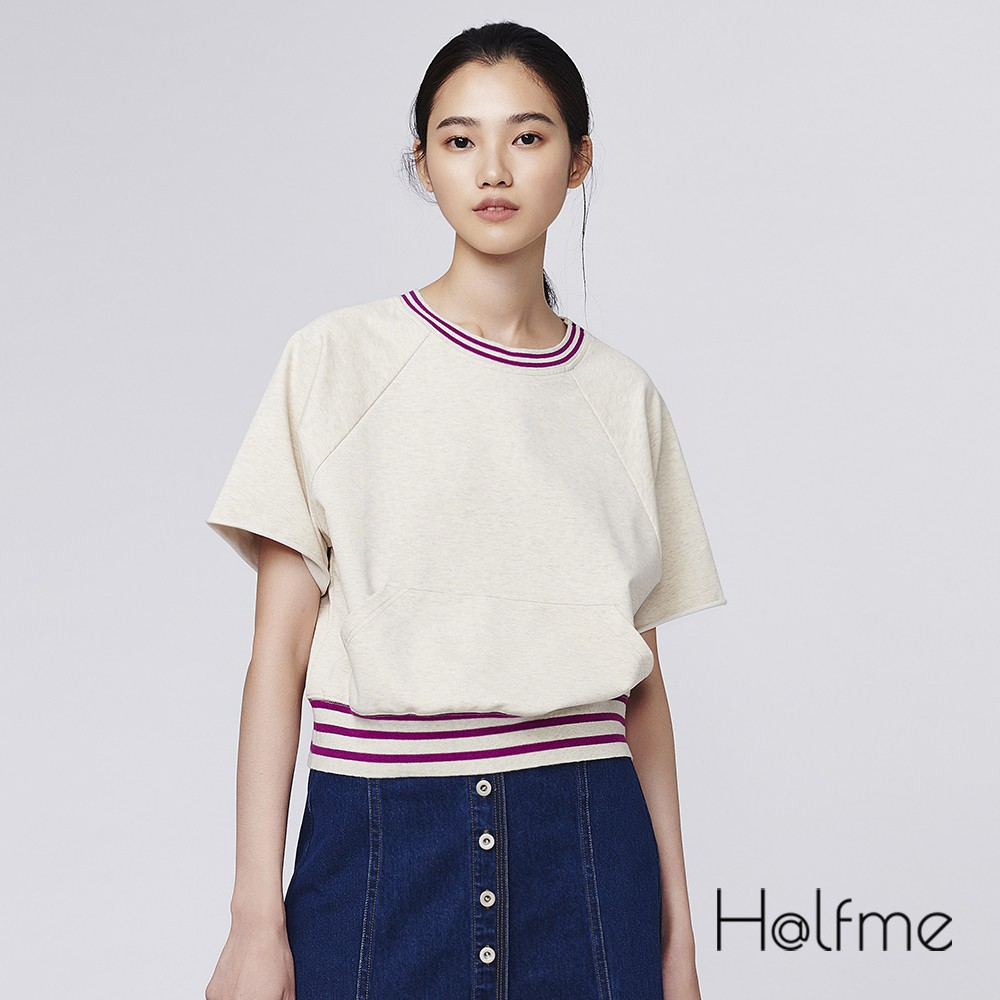 Halfme 設計師服飾 短版上衣 運動風大口袋 短袖