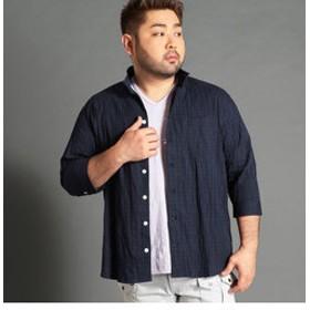 【NICOLE:トップス】<大きいサイズ>市松柄イタリアンカラー7分袖シャツ