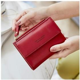 QH 女性のための財布、盗難防止ブラシ財布、ショートなめらかなミニマコインホルダー、アンチ消磁カードパッケージ (Color : Red)