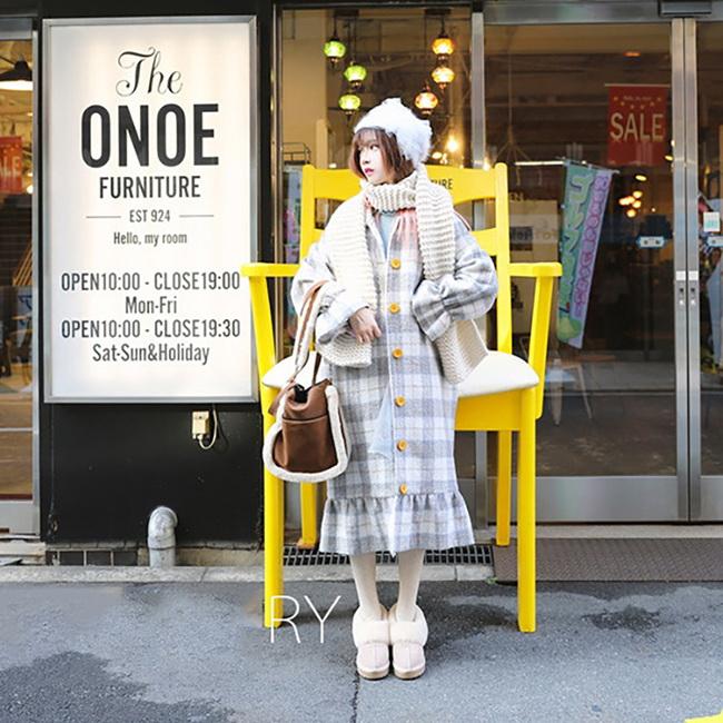 FOFU-大衣外套日系甜美風荷花邊毛呢大衣外套【08G-F1017】