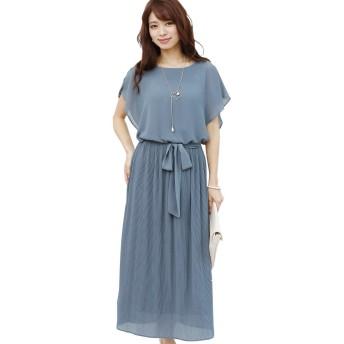 プールヴー ドレス ワンピース パーティードレス 結婚式 二次会 レディース グレイッシュブルー Lサイズ 11号 3053