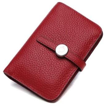 FX 財布折りたたみ財布、ファッション小財布ショートレザーウォレット革ソフトレザー (Color : Red)
