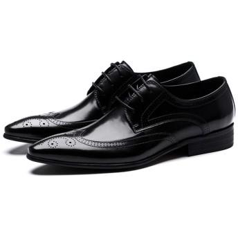 [ShiSyan] ビジネスシューズ メンズ 靴 牛革製メンズシューズイギリスビジネスドレスシューズ カジュアル おしゃれ 出張 旅行 宴会 飲み会 パーティー 結婚式 就職面接 (Color : Black, Size : 45)