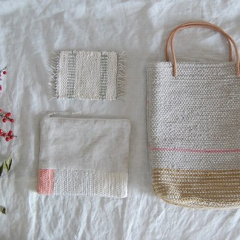 裂き織りバッグ・裂き織りポーチ・裂き織りコースター3点set