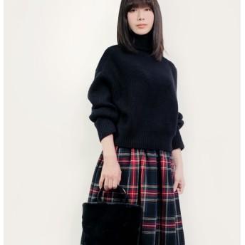 NEW! 秋冬 ウール 黒×赤×青×緑 タータンチェック ロングスカート ●CHELSEA●