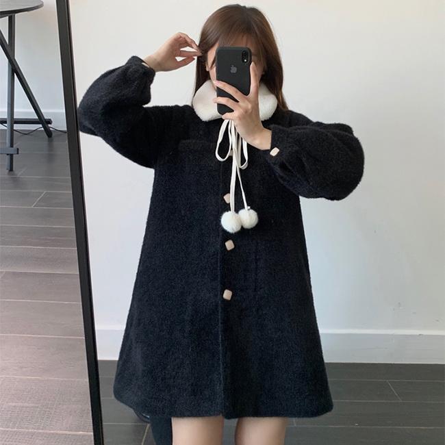 FOFU-大衣外套小毛球毛呢毛領寬鬆大衣外套【08G-F0995】