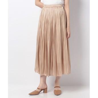 【40%OFF】 アラマンダ シャイニーサテンギャザースカート レディース ベージュ 38 【allamanda】 【セール開催中】