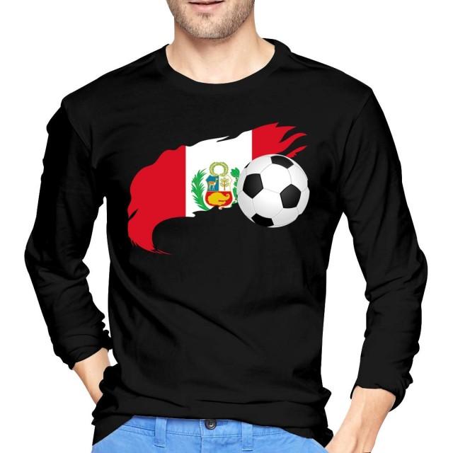 メンズフィットロングスリーブクルーネックコットンサッカーボールペルーフラグTシャツメンズ2XL
