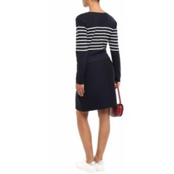 クローディ ピエルロ CLAUDIE PIERLOT レディース ワンピース ワンピース・ドレス Striped cotton-blend knitted dress Navy