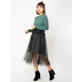 【CECIL McBEE:スカート】コルセット風チュール×へリンボンスカート