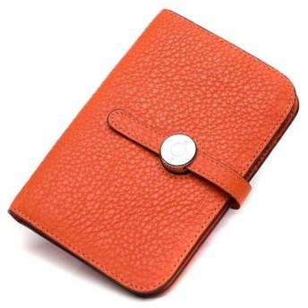 GY 財布、ライチファッション小財布ショートレザーウォレット革ソフトレザー折りたたみ財布 (Color : Orange)