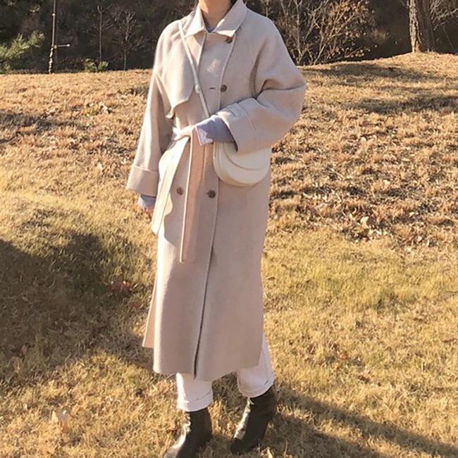 FOFU-大衣外套文藝復古溫柔雙面羊絨呢子大衣外套【08G-F1026】