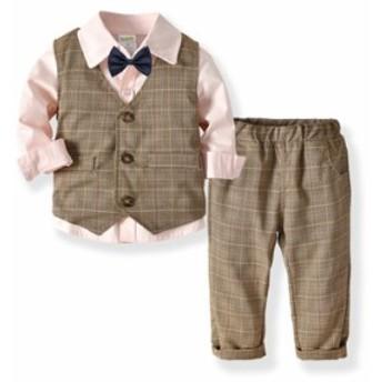 子供服の男の子の長袖のシャツの2層のベストの長ズボンは紳士のスーツの赤ちゃんの誕生日の宴会の礼服を結びます