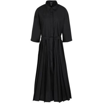 《セール開催中》DKNY レディース 7分丈ワンピース・ドレス ブラック XS ポリエステル 66% / コットン 34% ELBOW SLEEVE BOTTON THRU PLEATED DRESS