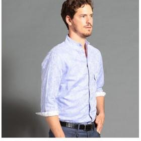 【NICOLE:トップス】コットン×リネンジャカード7分袖シャツ
