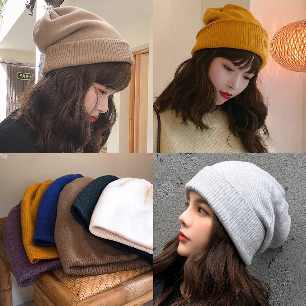 加厚柔軟素色百搭毛線帽卷邊保暖針織帽毛帽子推推帽