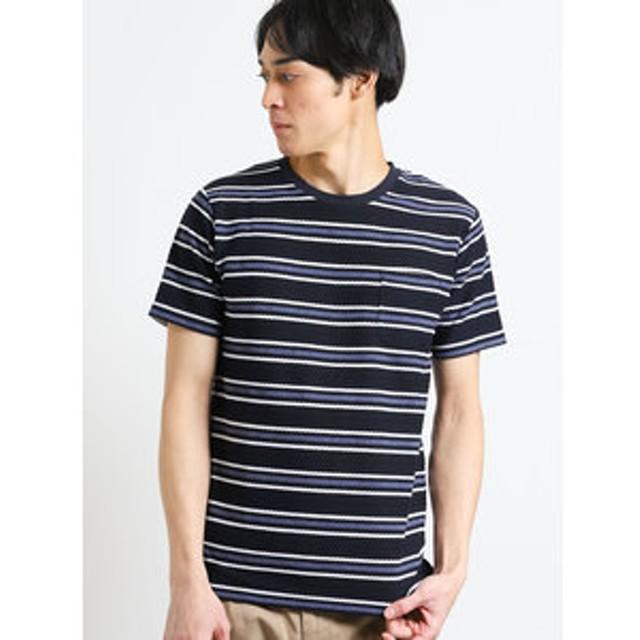 【m.f.editorial:トップス】ロープボーダー クルーネック半袖Tシャツ