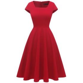 Dresstell(ドレステル) ワンピース レディース レトロ Aライン フレアワンピース 半袖 スクエアネック ひざ丈 ドレス パーティー お呼ばれ 無地 レッド XLサイズ