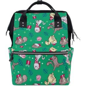 リュック レディース メンズ 学生 登山リュック リュックサック バックパック 大容量 デイバッグ クリスマス 猫柄 雪 マザーズバッグ おしゃれ 通勤 通学