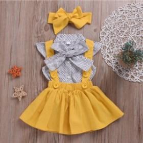 子供服2019新型子供セットの蝶々結び韓国版のドットシャツの背に短いスカートを持っています