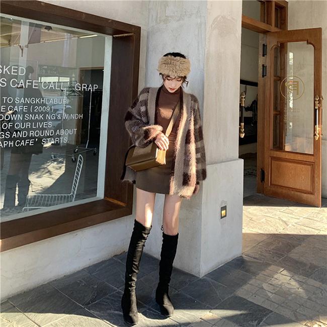 FOFU-針織外套港味復古慵懶格子毛衣開衫加厚針織外套【08G-F1030】