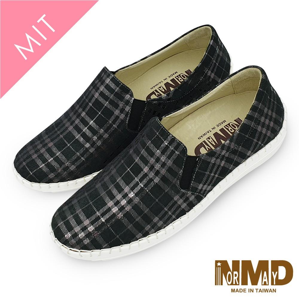 諾曼地Normady 女鞋 休閒鞋 懶人鞋 MIT台灣製 真皮鞋 個性經典格紋磁力厚底內增高氣墊球囊鞋(黑格紋)