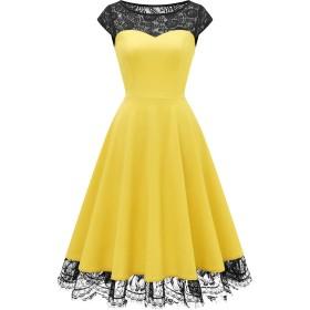Homrain 50年代風 ワンピース 結婚 パーティードレス aライン 膝下丈 レース切り替え ドレス 大きいサイズ 黄色 ワンピース 二次会 発表会ワンピース イエロー 2XL サイズ